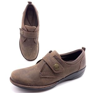 Clarks 8M Brown Nubuck Leather Comfort Loafers